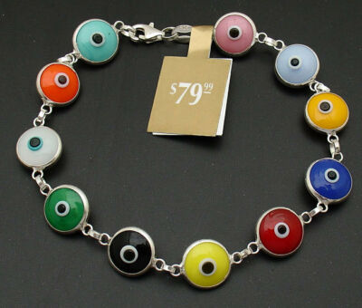 Multi Color Evil Eye Luck Bracelet REAL 925 Sterling Silver FREE SHIPPING