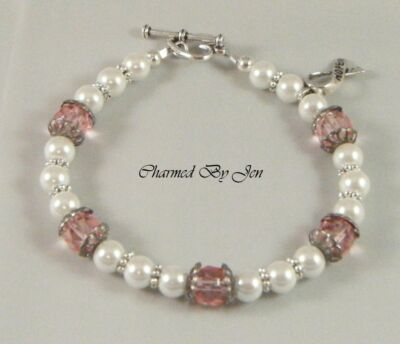 New BREAST CANCER Awareness Czech Glass & Pearl Bracelet w/ HOPE Ribbon Charm