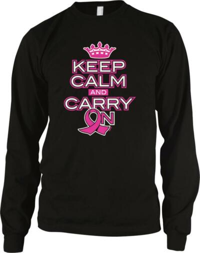 Keep Calm Carry On Breast Cancer Awareness Support Cure Pink Ribbon Black Sweat