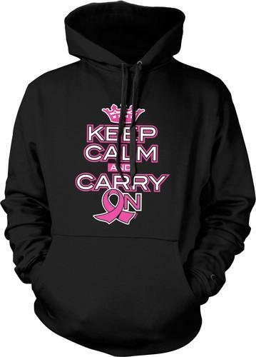 Keep Calm Carry On Breast Cancer Awareness  Cure Pink Ribbon BLK Hoodie SM-3XL