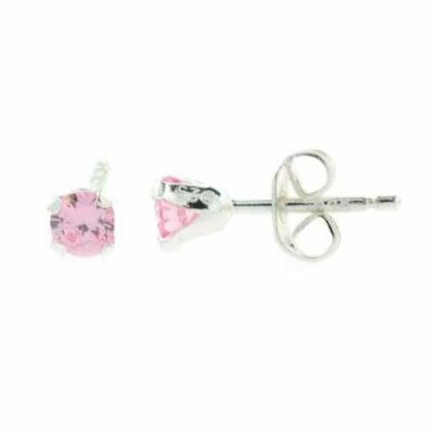 925 Silver 4mm Round Pink CZ Stud Earrings