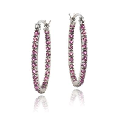 925 Silver Inside Out Created Pink Sapphire 22mm Oval Hoop Earrings