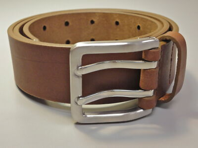 BURCH leather belt  w/ brushed stainless steel buckle