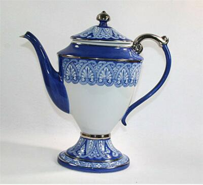 Bombay Company Tile Pattern Coffee Pot & Lid Blue Platinum Trim 5 Cup Mint!