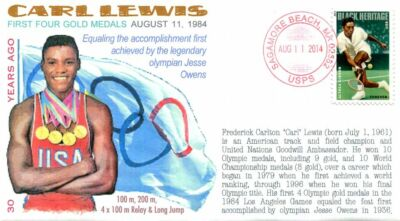 "COVERSCAPE computer designed 30th Anniversary Olympian Carl Lewis ""4 Gold"" cover"