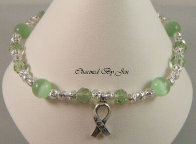 New LYMPHOMA Awareness Stretch ANKLET Ankle Bracelet w/ HOPE Ribbon Charm