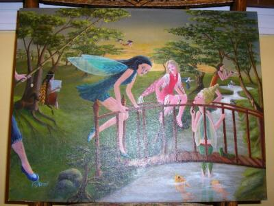 FAIRY FAIRIES INDIAN WOOD CARVER GARDEN FISHING LANDSCAPE LISTED ARTIST PAINTING