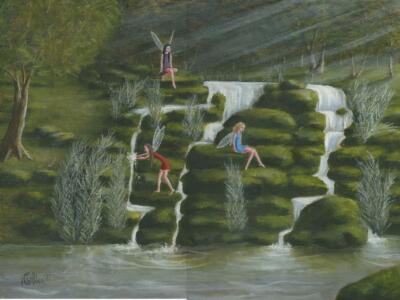 FAIRY FAIRIES WATERFALL STREAM MOSS ROCKS NATURE WOODS LISTED ARTIST PAINTING