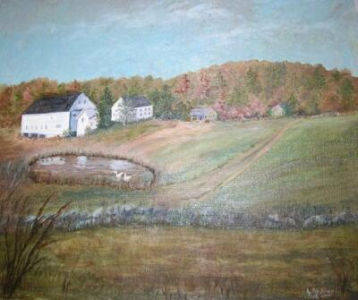 SMOLAK FARMS FOLK ART HOUSE SWAN AUTUMN APPLE ORCHARD FOLK ART HISTORIC PAINTING