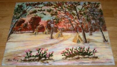 VINTAGE FOLK ART PRIMITIVE INDIAN TEEPEE AUTUMN LANDSCAPE SUNSET OIL  PAINTING