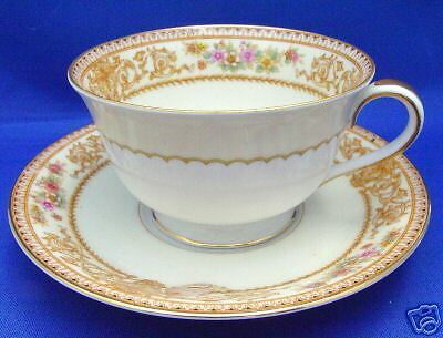 Cup & Saucer Noritake Japan YORK 3830 Gold Bands Scrolls Red Yellow Flowers