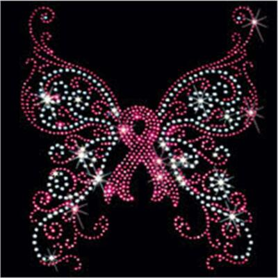 Breast Cancer Rhinestone T-Shirt - Ribbon Butterfly Design - Sizes S-4XL
