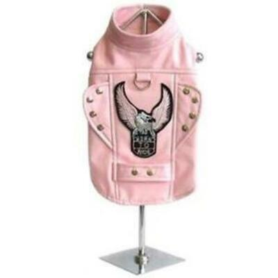 Born To Ride Motorcycle Harness Jacket for Dogs Pink
