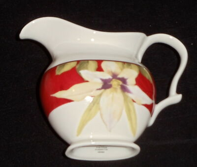 222 Fifth Belize ~ Creamer/Small Pitcher  ~ Floral on White - NEW ~ Free Ship