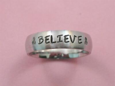 Stainless Steel 6mm Personalized Breast Cancer Awareness Ring Believe Ribbon