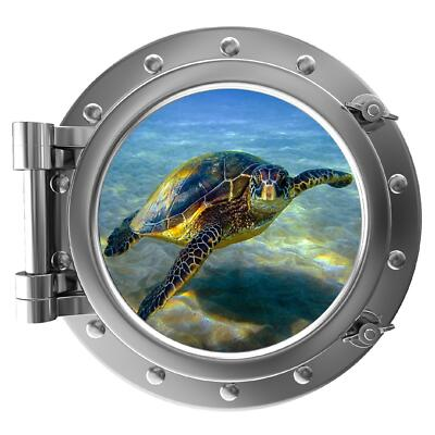 "12"" PortScape Instant Sea Window Turtle 1 Wall Decal Sticker Graphic FREE SHIP !"