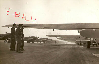WWII PHOTO 8X10 ETO D-DAY GLIDERS WACO RAF HAMILCAR IN LINE READY AIRBORNE LOOK