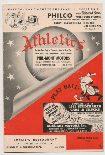 1951 Philadelphia A's-Indians Program Tribe Sweeps 4-Game Series GEM!!
