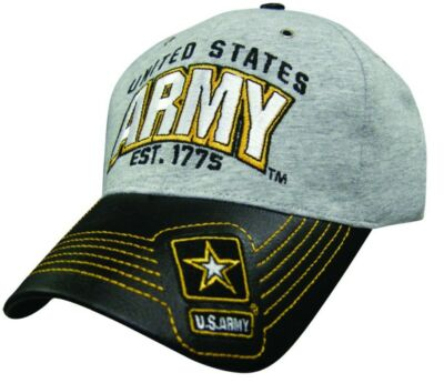 U.S. ARMY EST 1775 HEATHER GRAY FAUX LEATHER BILL Military Baseball Cap