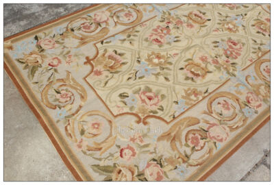 3X5 Needlepoint Rug ANTIQUE FRENCH DECOR Aubusson Rose Floral Home Wool Carpet
