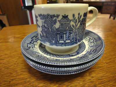 Churchill England Blue Willow 3 Cups & 3 Saucers Staffordshire-[640]