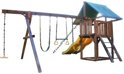PLAY FORT SWING SET Paper Plans EASY DIY PATTERNS Build Wood Play Ground In Yard