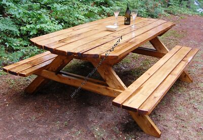PICNIC TABLE W/ BENCHES Paper Plans EASY DIY PATTERNS Build Your Own Like Expert