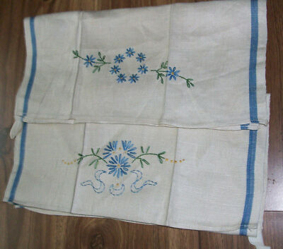 2 Linen Tea Kitchen Towels Hand Embroidered Blue Flowers Coordinating Designs
