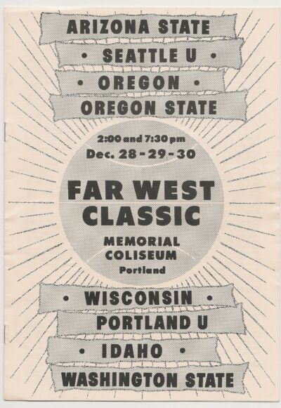 1960 Far West Basketball Program Seattle Oregon Oregon St. Washington St. RARE!!