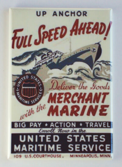 "Merchant Marine FRIDGE MAGNET recruiting poster ""Full Speed Ahead"""