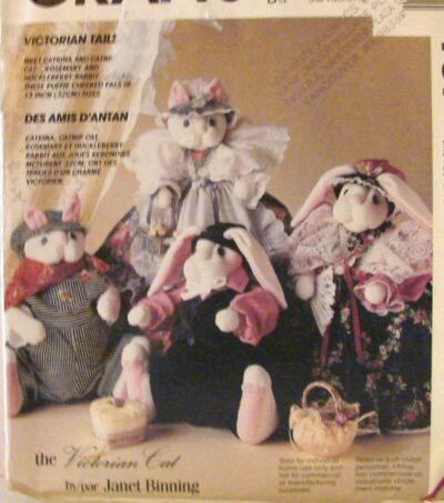 Primitive McCalls 761  Victorian Cat & Victorian Bunny Rabbit SEW CRAFT PATTERN