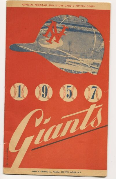 1957 New York Giants-Pirates Program Giants Penultimate NY Game NICE!!