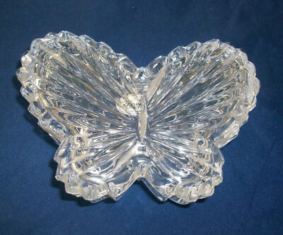 Trinket Box Butterfly Lead Crystal Casket Jewel Separate Lid Gorham Germany Vtg