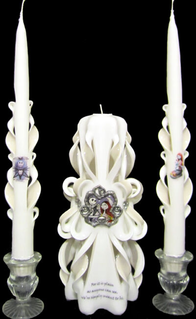 Nightmare Before Christmas NBC Wedding Unity Candles Set, 100% custom made! WOW!