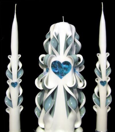 GORGEOUS Peacock *HEART* Wedding Unity Candles Set - Turquoise & White - SALE!
