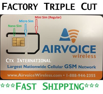 Airvoice Wireless (Nano) SIM Card New, NEVER ACTIVATED. Nationwide GSM Coverage