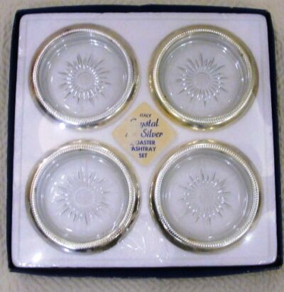 Coaster Set Italian Made NEW SILVERPLATE WEDDING DECOR, ash tray set