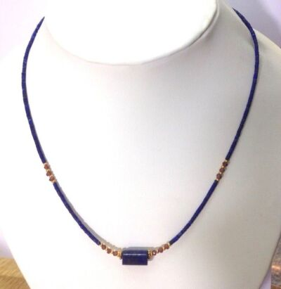 Blue Stone Lapis Necklace with Small Garnet Beads and Gold Plated (17.7 inches)