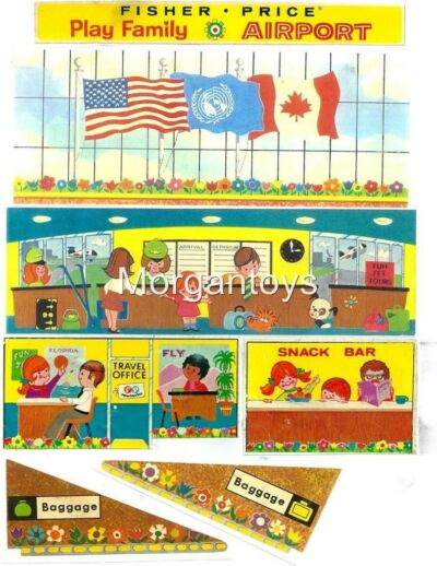 Vintage FISHER-PRICE #996 AIRPORT REPLACEMENT LITHOS Little People Play Family