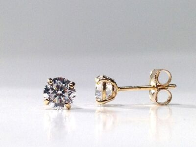 1.00 Carat Round Brilliant Cut Stud Earrings in 14k Yellow Gold AUCTION