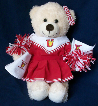 """Build A Bear Stuffed Plush Animal Bear 16"""" With Red White Cheerleader Outfit"""