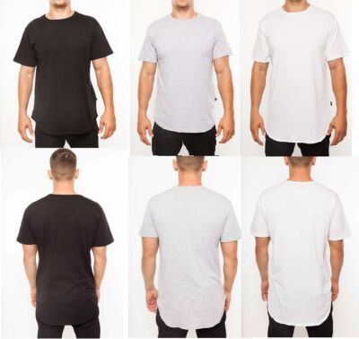 MENS YEEZY Simple Elongated Scoop Tee Long Tee  - Made In USA