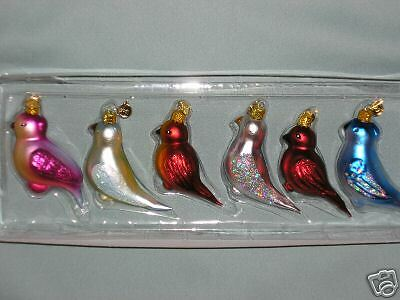Kurt S. Adler Set of 6 Assorted Birds Spring / Easter Blown Glass Ornaments