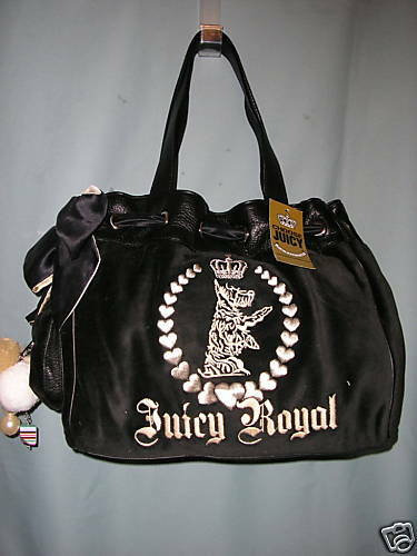 Juicy Couture Black and Ivory Embroidered Daydreamer Handbag New With Tags