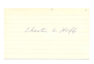 Chester Red Hoff Autograph 3X5 Yankees 1911 D-98 EX!!
