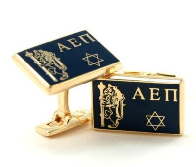 Alpha Epsilon Pi Custom-Made Flag Gold Plated Cuff Links NEW!