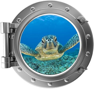 "12"" PortScape Instant Sea Window Turtle #3 Porthole Wall Decal Graphic Sticker"