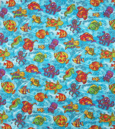 Quilt Craft Fabric Hoffman Giggles Fish Sea Blue Primary Colors Cotton S#0421