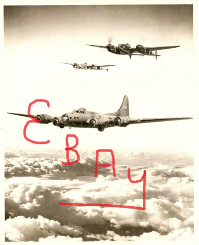 WWII 8X10 PHOTOGRAPH OF BOEING B-17 BOMBER & LOCKHEED P-38'S IN ACTION