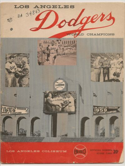 1960 Los Angeles Dodgers-Phillies Program Dodgers Win Two of Three!!